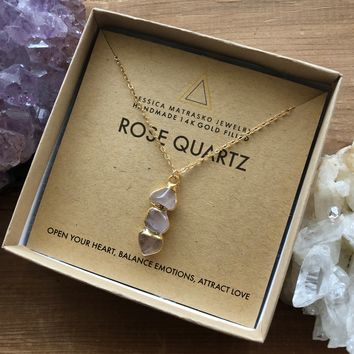Rose Quartz Healing Crystal Necklace