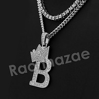 Iced Out  King Crown B Initial Pendant Necklace Set (Silver)