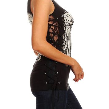 Women Plus Size Black Lace Side Corset Angel Wing Gothic Silver Cross Top Shirt