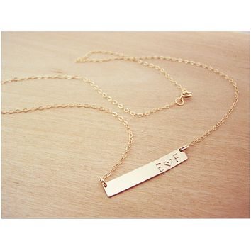 Gold Filled Bar Minimalist Hand Stamped Two Initial Heart Horizontal Bar Necklace / Gift for Her
