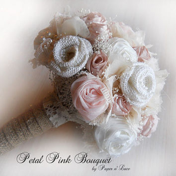 """Handmade Petal Pink Bridal or Bridesmaid Bouquet, medium size 8"""". Colors are eggshell, petal pink, champagne, ivory and natural burlap."""