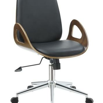 Cassington collection black leatherette upholstered mid-century modern style office chair with wood accents