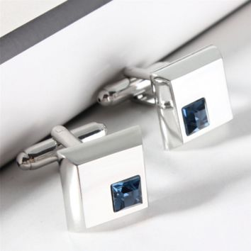 Silver Cufflinks with Blue Crystal Gem