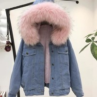 Women Winter Thick Jean Jacket Faux Fur Collar Fleece Hooded Denim Coat Female Lamb Fur Padded Warm Denim Jacket Outwear