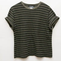 Ribbed Striped Shirt / 70s Vintage Dark Green Tee / Cotton Thin Striped Blue Yellow