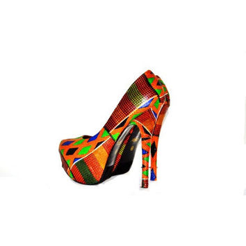 Kente Fabric Platform Shoes