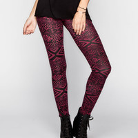 Full Tilt Linear Tribal Print Womens Leggings Blackberry  In Sizes