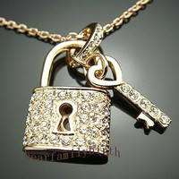 Crystal Key&Lock Necklace Pendant Gift 18k Rose Gold GP N231