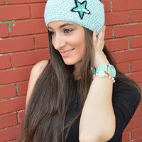 Light Blue HandKnitted Headband With Sequins Star Embellishment Headwarmer Wide Headband Ear Warmer - Handmade