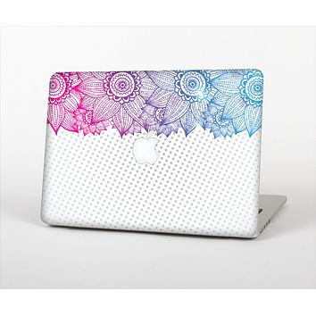 The Vibrant Vintage Polka & Sketch Pink-Blue Floral Skin Set for the Apple MacBook Air 11""