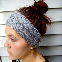 Knitted Double-Cabled Headband / Ear warmer (Gray)