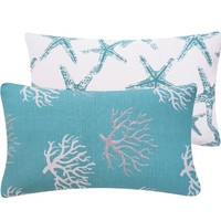 Chloe & Olive Wonders of The Seas Turquoise Collection Ocean Coral and Star Fish Lumbar Pillow Cover, 12 by 20-Inch, Blue