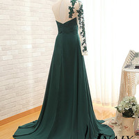 Long Sleeve Prom Dress Sweetheart A Line Pleated One Shoulder Dark Blue Long Sleeve Crystal Lace Prom Dresses Long Sleeve Evening Dress