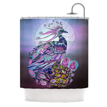 "Catherine Holcombe ""Peacock"" Purple Lavender Shower Curtain"