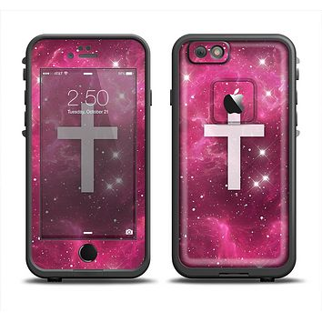 The Vector White Cross v2 over Glowing Pink Nebula Apple iPhone 6 LifeProof Fre Case Skin Set