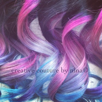 "20""Ombre Hair,Tie dye Hair, Black Hair Extensions, Pink Ombre,Lavender, Lilac, Pink, Steel, Silver"