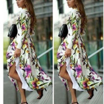 Stylish Print Prom Dress Long Sleeve Slim Hot Sale One Piece Dress [6338952513]