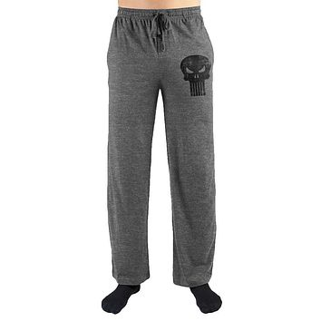 Marvel The Punisher Black Skull Print Men's Lounge Pants