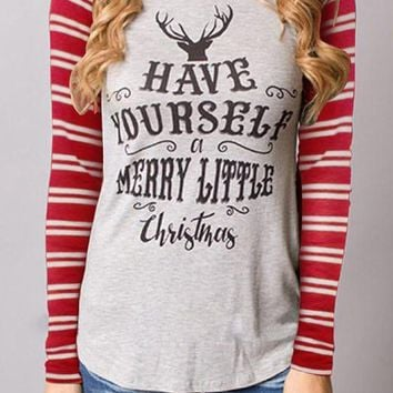 Red Striped Monogram Wapiti Print Christmas Round Neck Long Sleeve T-Shirt