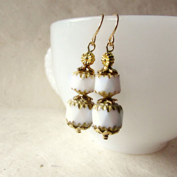 White + Gold Bridal Earrings. Cathedral Cut Opaque Czech Glass Beads w Metallic Gold Grecian Detailing. Romantic Classic Wedding Earrings.