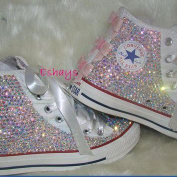 DCKL9 Kids High Top Sequin Bow Rhinestone Converse