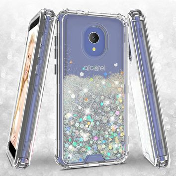 Alcatel 1x Evolve Case,Hard Clear Glitter Sparkle Flowing Liquid Heavy Duty Shockproof Three Layer Protective Bling Girls Women Cases for Alcatel 1x Evolve - Clear