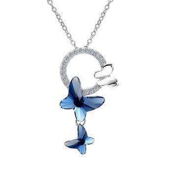 925 Sterling Silver Butterfly Denim Blue Jewelry Made with Swarovski Crystals CZ Circle Pendant Necklace