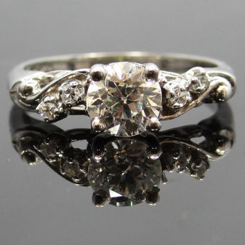 Fabulous and Feminine 14K White Gold 1950s Curvy Diamond Engagement Ring - RGDI140P