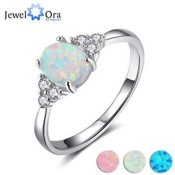 Classic Wedding Ring 8mm Oval Cream Opal Stone Genuine 925 Sterling Silver Rings For Women Fashion Jewelry (JewelOra RI103621 )