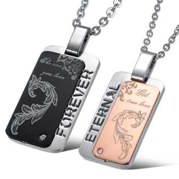 Forever Black & Gold Stainless Steel Phoenix tail Engraved Dog Tag sets