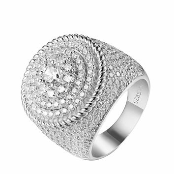 Sterling Silver Wedding Ring Custom Solitaire Cluster Simulated Diamond Mens New