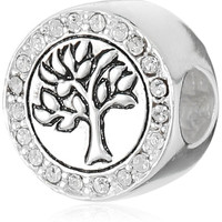 CHARMED BEADS Sterling Silver Family Tree of Life Crystal Bead Charm