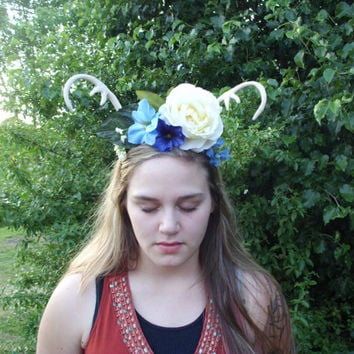 deer antler headband deer antler flower crown bridal headband antler flower crown wedding headband fairy costume