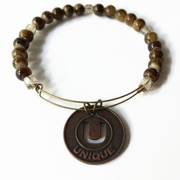 Unique Bronze Stacking Bracelet Words of Wisdom Brown Beaded Bracelet Unique Bronze Charm Bangle Bracelet Charm Wire Bracelet (MBX194)