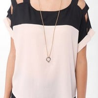 Colorblocked Cutout Shoulder Top
