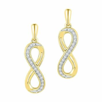 10kt Yellow Gold Women's Round Diamond Infinity Dangle Earrings 1-10 Cttw - FREE Shipping (US/CAN)