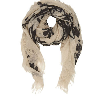 Cream and Black Bella Ballou 'Crystal Clear Mind' Printed Wool Scarf
