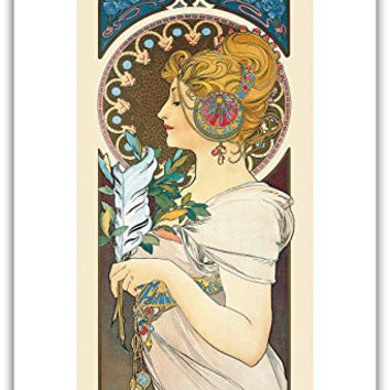 "Feather - Art Nouveau - La Belle Époque- ""Les Maitres de l'Affiche""- Art Deco- Vintage French Advertising Poster by Alphonse Mucha 1899 - Master Art Print - 13in x 19in"