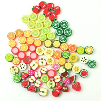 100Pcs Mixed Fimo Polymer Clay Fruits Spacer Beads 10.5x9mm 10x10mm