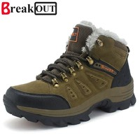 Break Out Men Boots for Men Winter Snow Boots Warm Fur&Plush Lace Up High Top Fashion Men Shoes 45 46 47