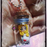 Kawaii and cute bottle necklace inspired by Alice in Wonderland with key charm and cards handmade. Kawaii Disney princess jewelry