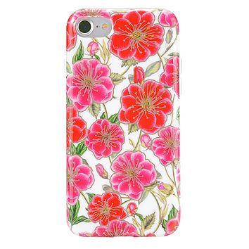 White Hibiscus Rose Gold Chrome Floral iPhone Case