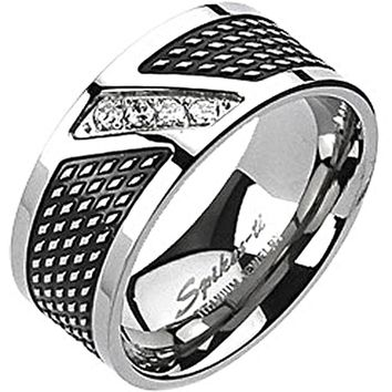 Spikes Mens Solid Titanium Modern 9mm Black IP Cubic Zirconia Band Ring