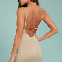 Favorite Distraction Taupe Backless Bodycon Dress