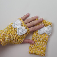 Yellow,Knitted gloves,Recycled yarn, hand knitted, knitted, gloves,