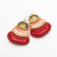 Boho Bell Earrings, Trapezium Felt Embroidery, Red Gold Peach Sequins, Geometric Statement Jewelry