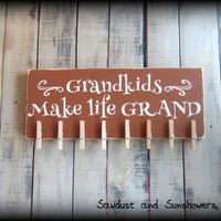 Wooden Picture Holder, Gift For Grandparents, Gift For Grandma, Gift For Grandpa, Grandkids make life grand, Rustic Wooden Sign, Custom Sign