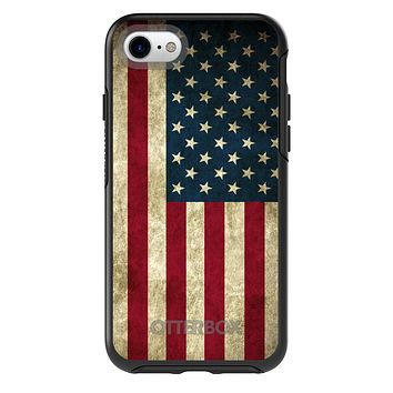 DistinctInk™ OtterBox Symmetry Series Case for Apple iPhone / Samsung Galaxy / Google Pixel - Red White Blue United States Flag Old