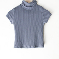 Turtleneck Crop Top - Charcoal