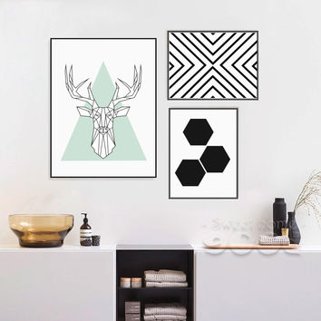 Simple Style Canvas Art Print Painting Poster, Deer Head Wall Pictures For Home Decoration, Wall Decor YE139